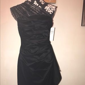 Maggy London Dress Size 10 wrap black one shoulder